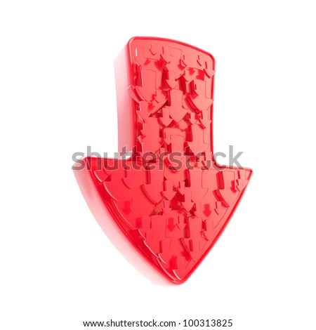Arrow down red sign made of smaller ones isolated on white - stock photo