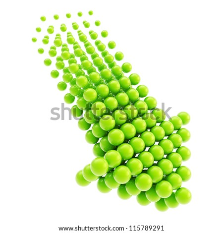 Arrow emblem green glossy icon as upload, download or direction sign, made of spheres isolated on white background - stock photo