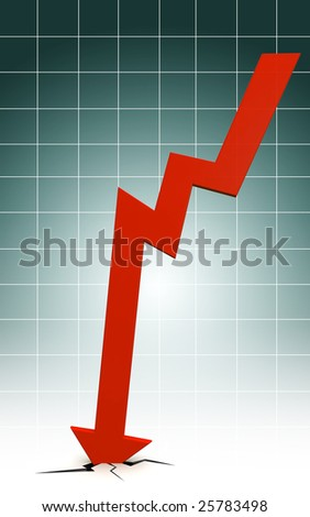 Arrow fall down to the floor with graph background show Economy Recession - stock photo