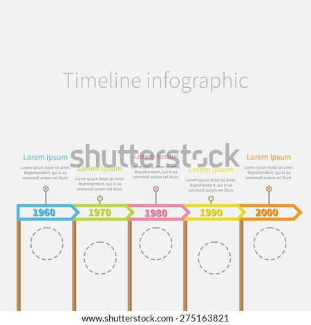 Arrow Flag on sticks Horizontal Timeline Infographic with dash line circles and text. Template. Flat design.
