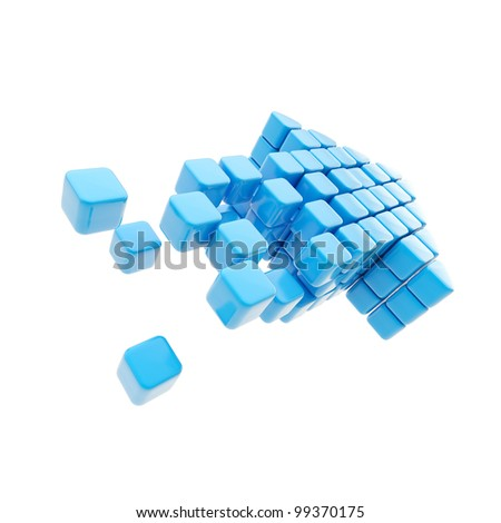 Arrow future technology symbol made of blue glossy cubes isolated on white - stock photo