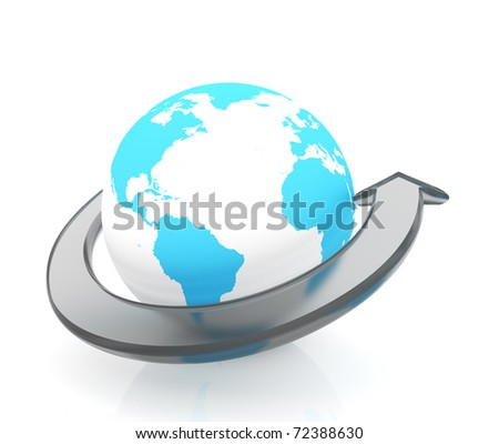 Arrow go forward around Earth globe - 3d render