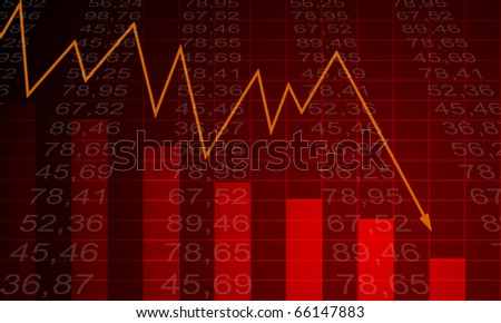 Arrow graph going down and electronic stock numbers on a blue background. - stock photo