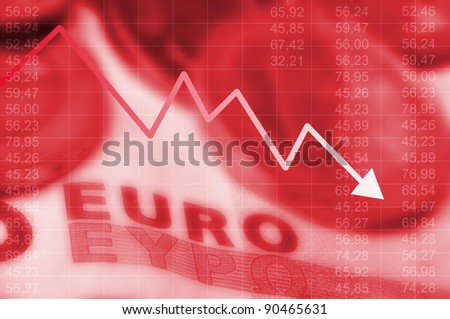 Arrow graph going down and euro currency in background - stock photo