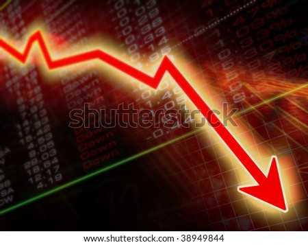 arrow graph going down on a stock result background - stock photo