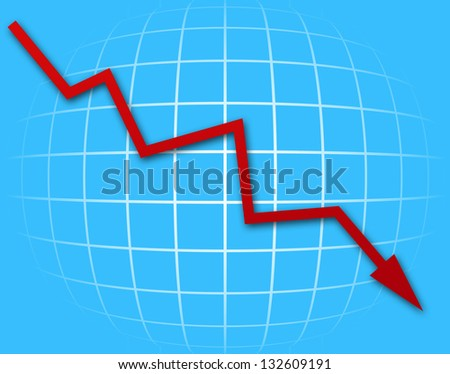 Arrow graph going down on blue background - stock photo