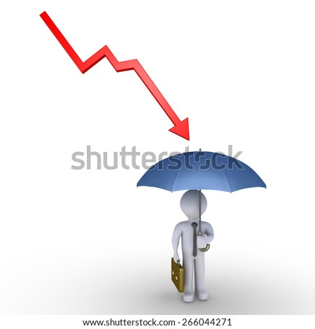 Arrow graph going downwards to businessman but he is protected by umbrella - stock photo
