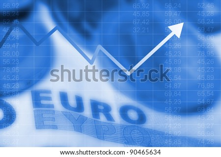 Arrow graph going up and euro currency in background - stock photo