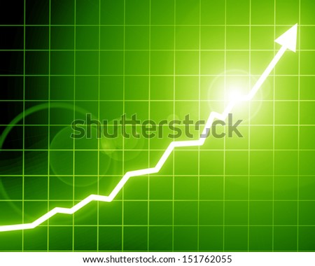 Arrow graph going up on a soft green background - stock photo