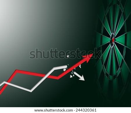 Arrow grow up to business target - stock photo
