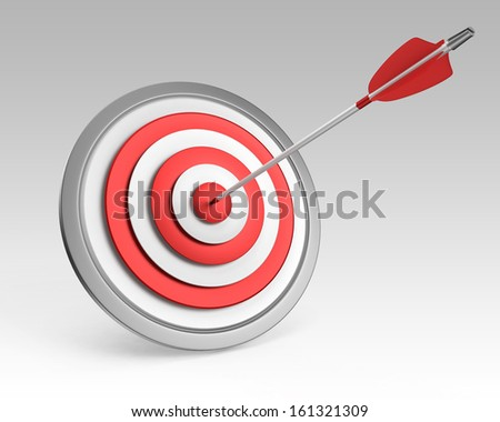 Arrow hit on bull's-eye - stock photo