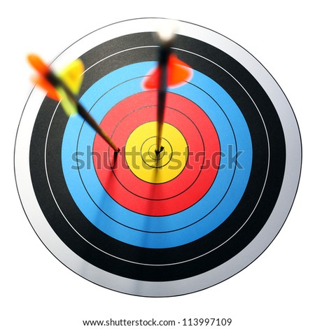 arrow hits target, one missed - stock photo