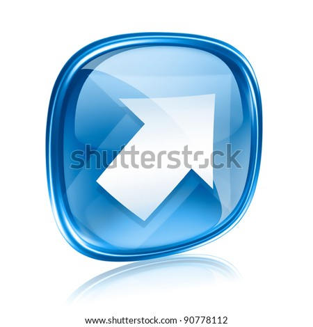 Arrow icon blue glass, isolated on white background - stock photo