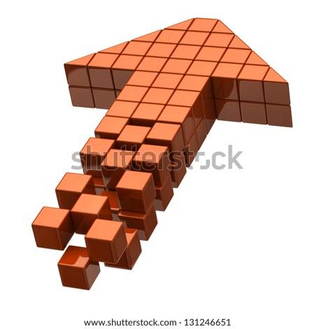 Arrow icon made of orange cubes - stock photo