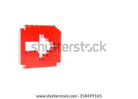 Arrow icon with blocks isolated on a white background - stock photo