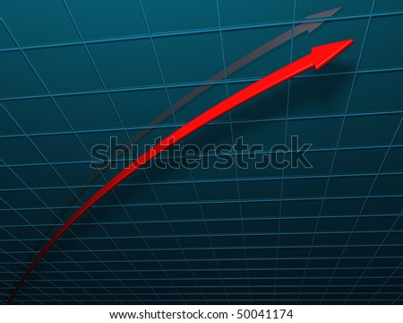 Arrow illustrating a steep increase ; 3d computer render - stock photo