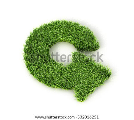 arrow in a circle, refresh, reload rotation loop sign. Arrow of green grass. 3D illustration
