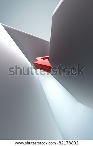 Arrow in Labyrinth - stock photo