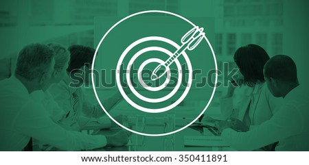 arrow in target against business people looking at blank whiteboard in conference room