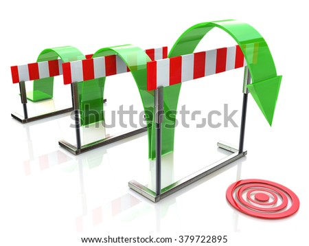 Arrow jumping over hurdles in the design of access to information relating to the business and its goals - stock photo