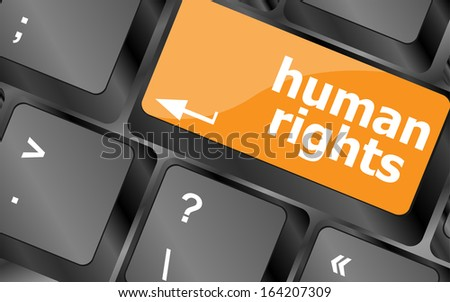 arrow keyboard key button with human rights word on it, raster - stock photo