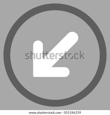 Arrow Left-Down glyph bicolor rounded icon. Image style is a flat icon symbol inside a circle, dark gray and white colors, silver background.