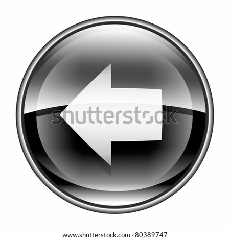 Arrow left icon black, isolated on white background. - stock photo