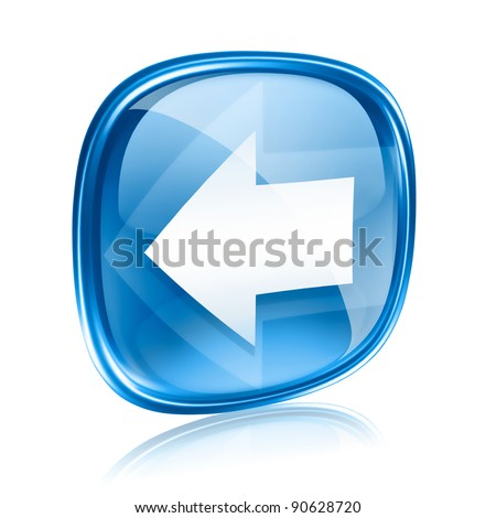 Arrow left icon blue glass, isolated on white background. - stock photo