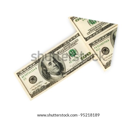 Arrow made of dollars on white background - stock photo