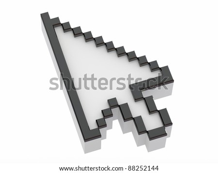 Arrow. Mouse cursor on white isolated background. 3d - stock photo