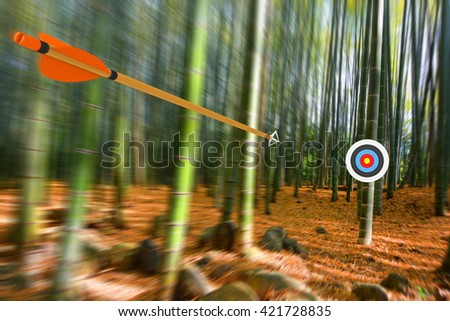 Arrow moving through air to target with radial motion blur, part photo, part 3D rendering - stock photo