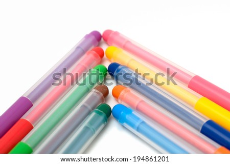 arrow of markers isolated objects on the white background - stock photo