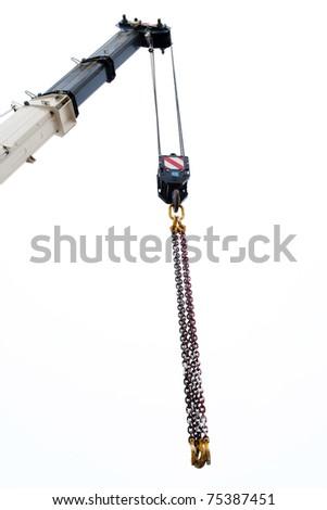 arrow of telescopic crane with slings - stock photo