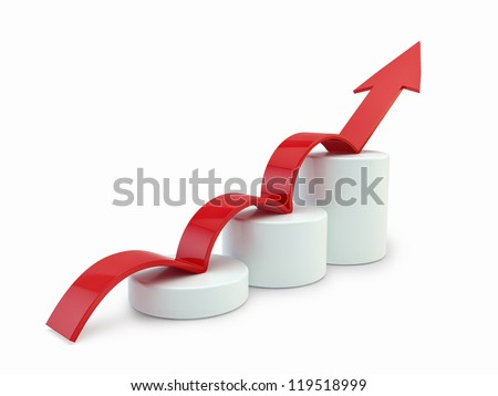 Arrow on chart - stock photo