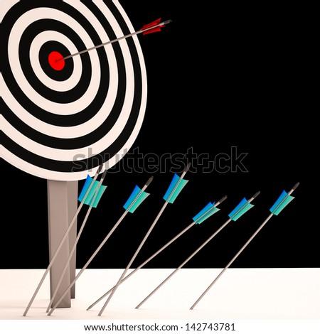 Arrow On Dartboard Shows Perfect Shot Or Precision - stock photo