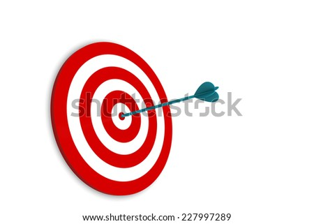 Arrow on Target isolated on white background - stock photo