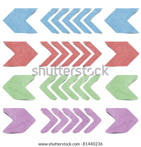 arrow origami tag recycled paper craft stick on white background - stock photo