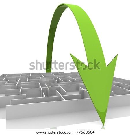 arrow passes over a maze - stock photo