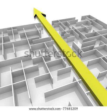 arrow passes through the maze - stock photo