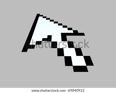 Arrow pointer of computer mouse on gray background - stock photo