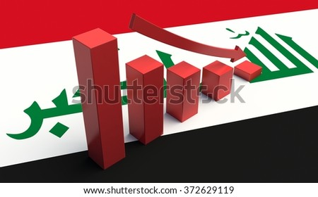 Arrow pointing down on a Iraq Flag. 3D illustration