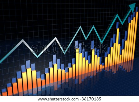 Arrow pointing to the higher financial chart bar 3d illustration - stock photo