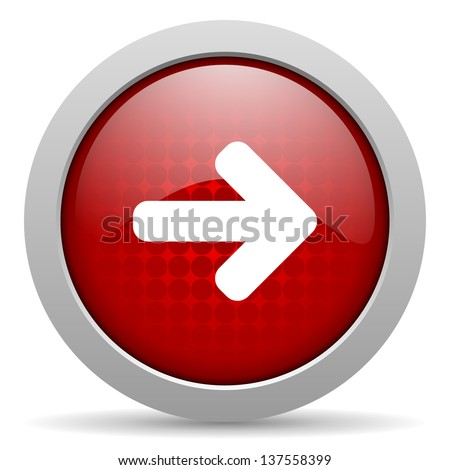 arrow red circle web glossy icon - stock photo