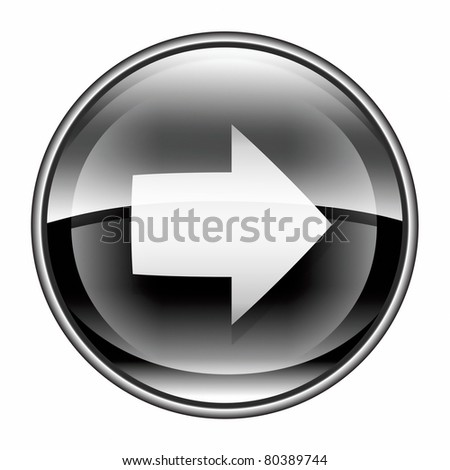 Arrow right icon black, isolated on white background. - stock photo