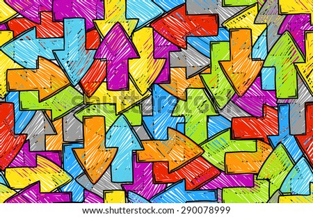 Arrow seamless colorful background. Raster version - stock photo