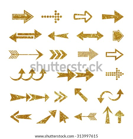 Arrow set made of gold glitter texture. - stock photo