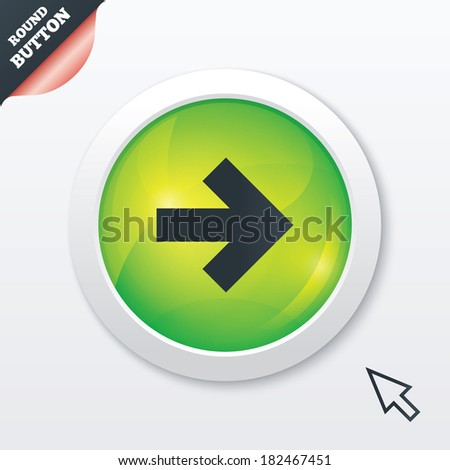 Arrow sign icon. Next button. Navigation symbol. Green shiny button. Modern UI website button with mouse cursor pointer.