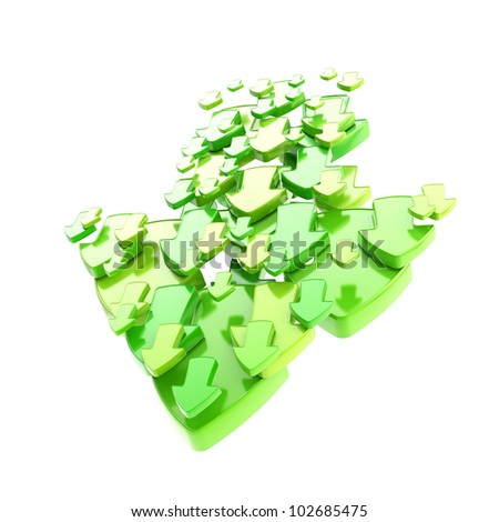 Arrow sign made of smaller green ones isolated on white - stock photo