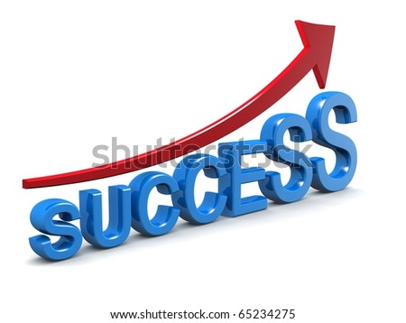 Arrow sign pointing up with success word 3d illustration