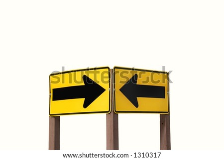 Arrow signs isolated on white. - stock photo